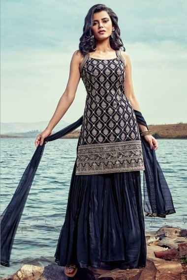 Blue Georgette Embroidered Straight Cut Sharara Suit