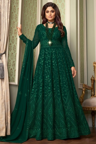 Shamita Shetty Green Georgette Embroidered Anarkali Suit with Sequins Work
