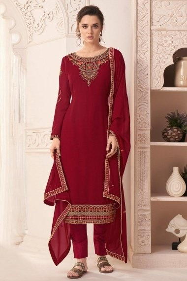 Maroon Georgette Straight Cut Suit with Embroidery