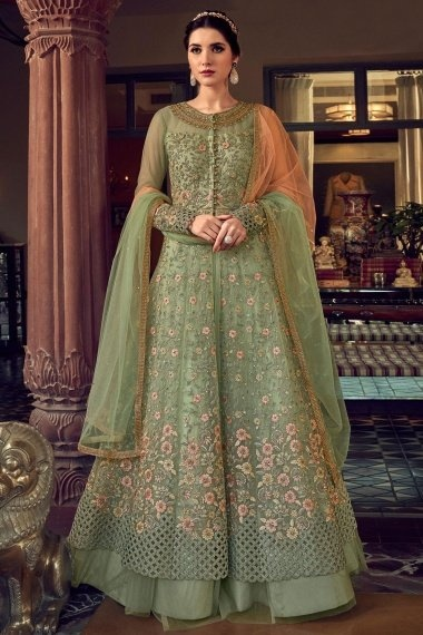 Sage Green Net Designer Slit Cut Lehenga Suit with Floral Embroidery