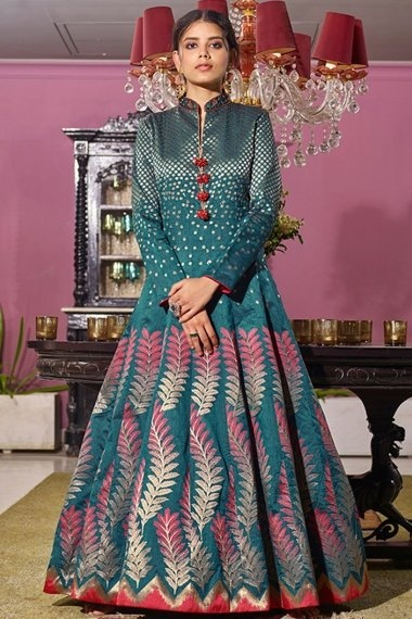 Rama Blue Jacquard Traditional Woven Suit