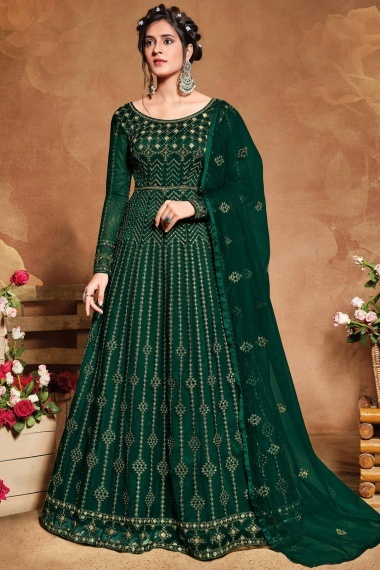 Bottle Green Net Designer Anarkali Suit with Embroidery and Sequins