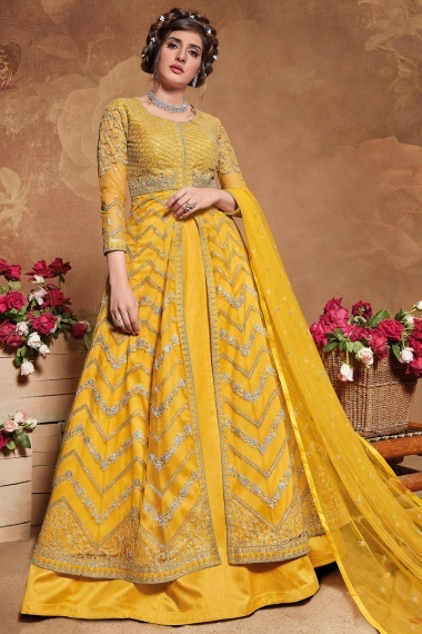 Mustard Yellow Net Front Slit Cut Lehenga Suit with Zigzag Embroidery