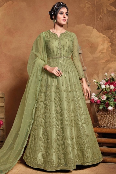 Olive Green Net Anarkali Suit with Dori Embroidery and Sequins
