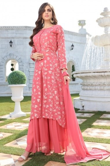 Coral Peach Georgette Gota Patti Lace Worked Slit Cut Palazzo Suit