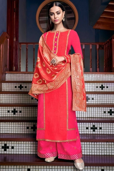 Pink and Orange Art Silk Palazzo Suit with Woven Dupatta