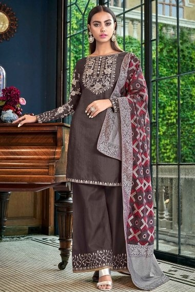 Brown Satin Palazzo Suit with Woven Dupatta