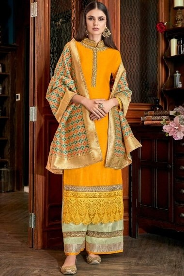 Yellow Art Silk Straight Cut Suit with Woven Dupatta