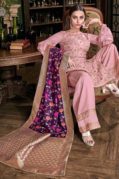 Pink Tussar Satin Palazzo Suit with Woven Dupatta