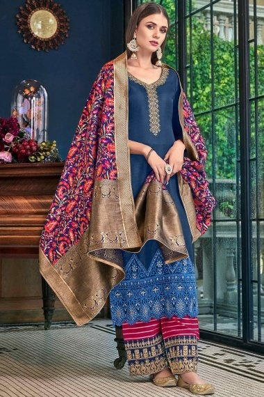 Prussian Blue Tussar Satin Palazzo Suit with Woven Dupatta
