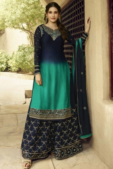 Amyra Dastur Prussian Blue Satin Georgette Straight Cut Embroidered Palazzo Suit