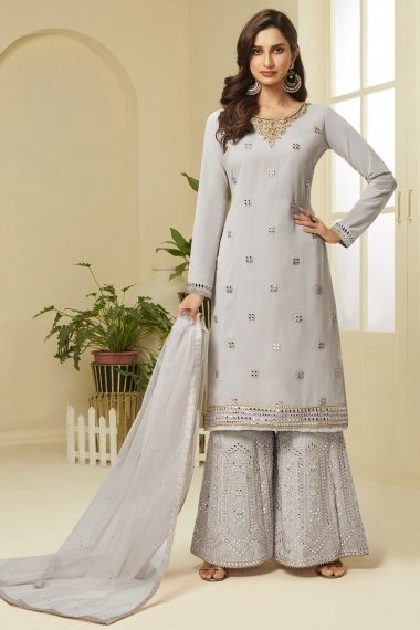 Light Grey Georgette Straight Cut Embroidered Sharara Suit with Stone