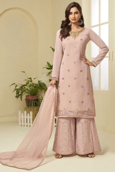 Dusty Pink Georgette Straight Cut Embroidered Sharara Suit with Stone