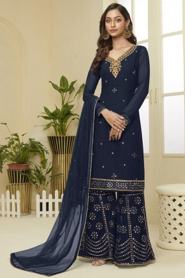 Blue Georgette Straight Cut Embroidered Sharara Suit with Sequins