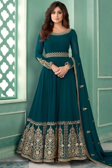 Shamita Shetty Teal Green Georgette Designer Anarkali Suit with Embroidery