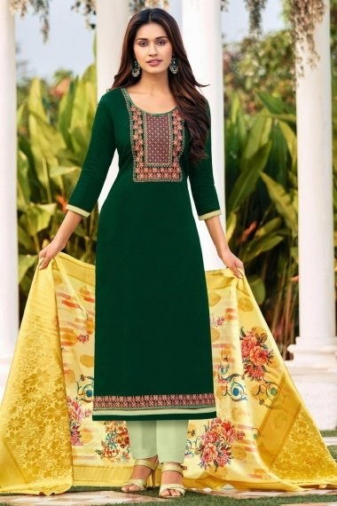 Dark Green Cotton Suit with Embroidery