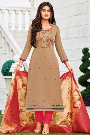 Taupe Cotton Suit with Embroidery