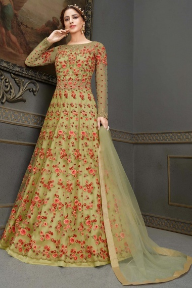 Green Net Embroidered Suit