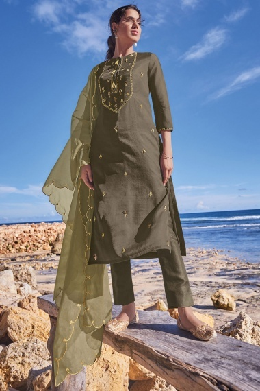 Olive Green Tussar Silk Embroidered Suit