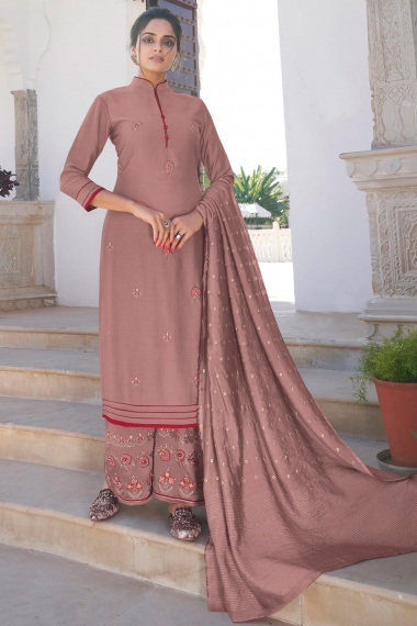 Rose Taupe Cotton Embroidered Palazzo Suit