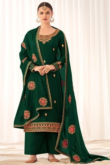 Bottle Green Tussar Silk Embroidered Palazzo Suit