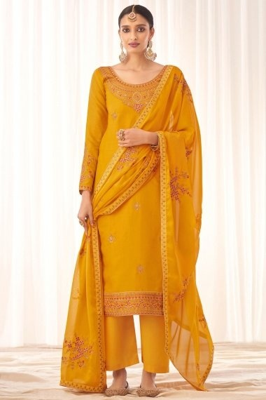 Yellow Tussar Silk Embroidered Suit