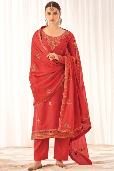 Coral Pink Tussar Silk Embroidered Suit