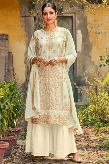 Off White Georgette Sharara Suit