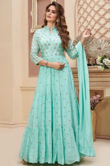Sky Blue Chinon Sequins Worked Anarkali Suit