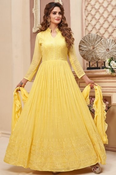Yellow Georgette Flared Anarkali Suit with Embroidery