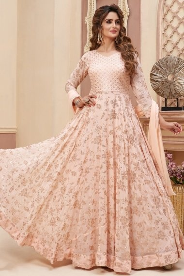 Peach Georgette Flared Anarkali Suit with Sequins Work
