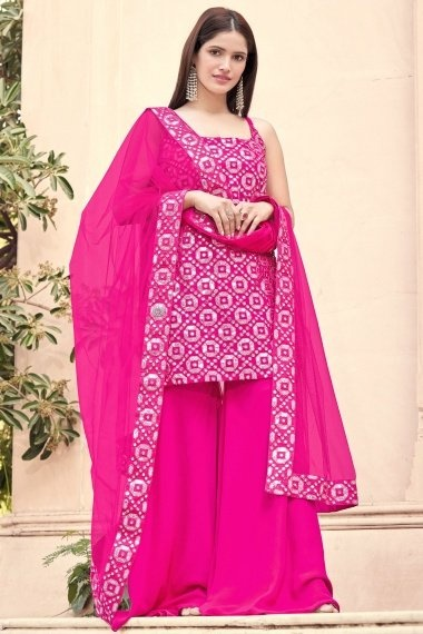Pink Georgette Applique Worked Suit