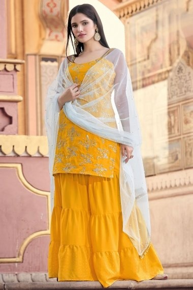 Mustard Crepe Embroidered Sharara Suit