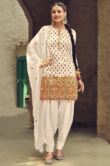 Off White Georgette Embroidered Patiala Suit