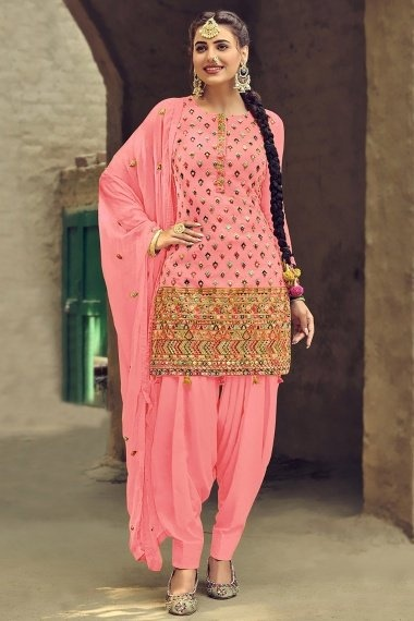 Light Pink Georgette Embroidered Patiala Suit