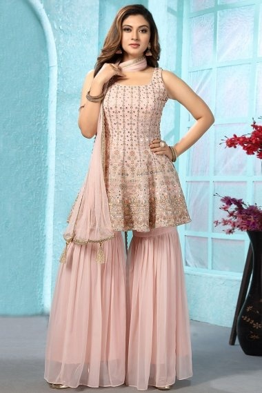 Baby Pink Georgette Applique Worked Sharara Suit