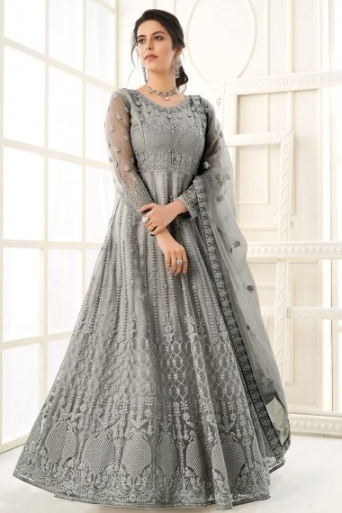 Grey Net Dori Embroidered Suit