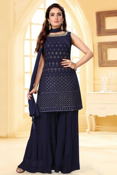 Navy Blue Georgette Embroidered Sharara Suit