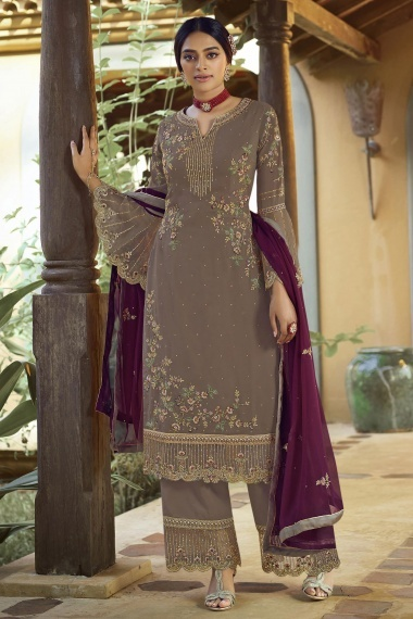 Taupe Georgette Embroidered Palazzo Suit