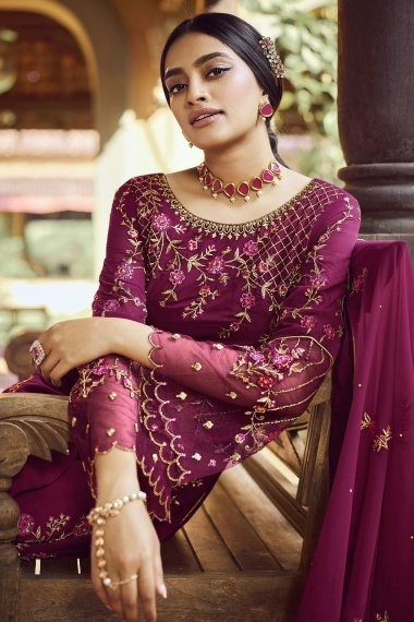 Wine Purple Georgette Bell Sellved Palazzo Suit
