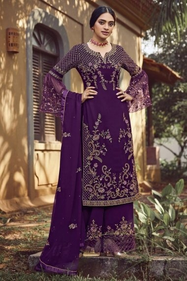 Voilet Purple Georgette Embroidered Palazzo Suit