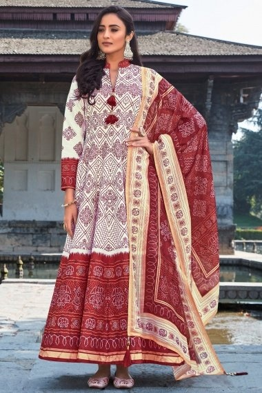 Off White and Maroon Silk Traditional Anarkali Suit