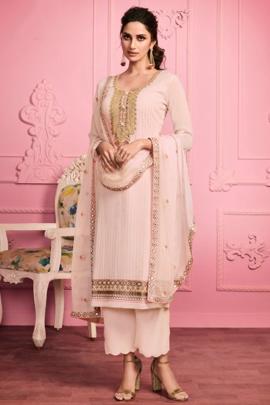 Light Peach Georgette Thread Embroidered Suit