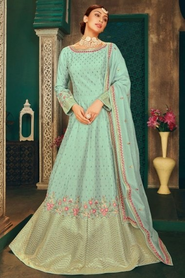 Mint Green Silk Embroidered Anarkali Suit
