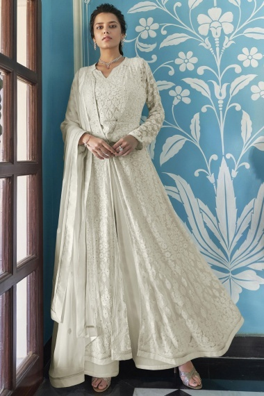 Pearl White Georgette Front Slit Cut Palazzo Suit