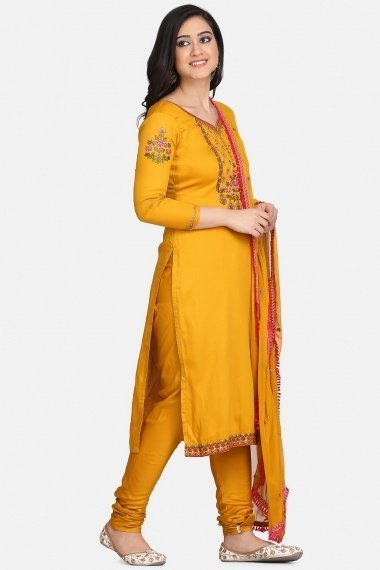 Yellow Cotton Embroidered Suit