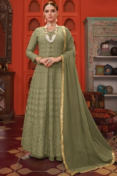 Olive Green Georgette Thread Embroidered Suit