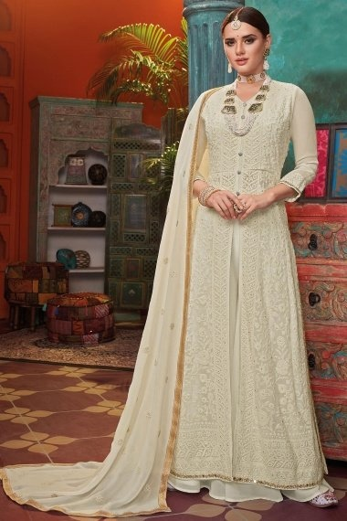 Off White Georgette Thread Embroidered Suit