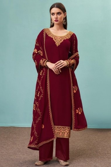 Maroon Georgette Embroidered Suit