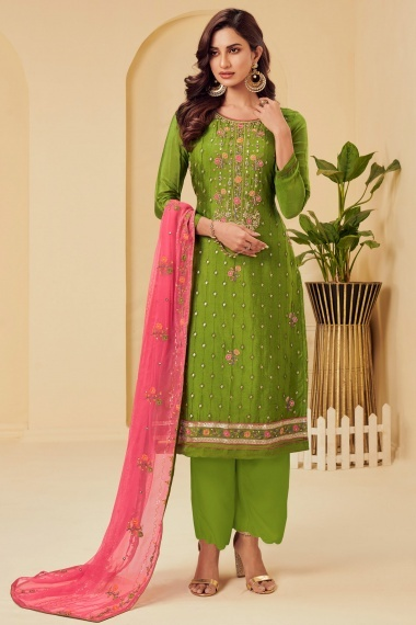 Green Georgette Sequins Worked Suit